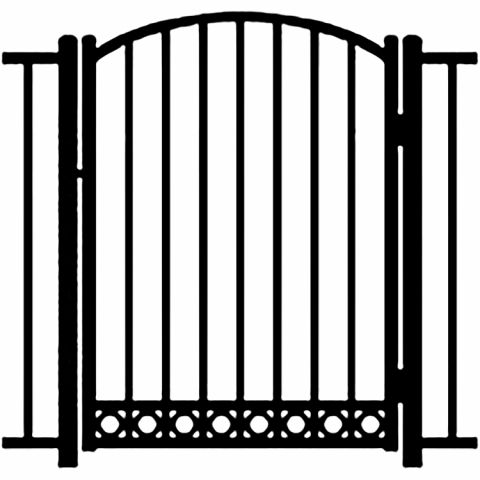 Ideal Alamo #4005 Aluminum Arched Walk Gate - Bottom Rings