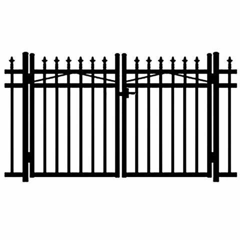 Jerith Kensington Aluminum Double Swing Gate w/Finials