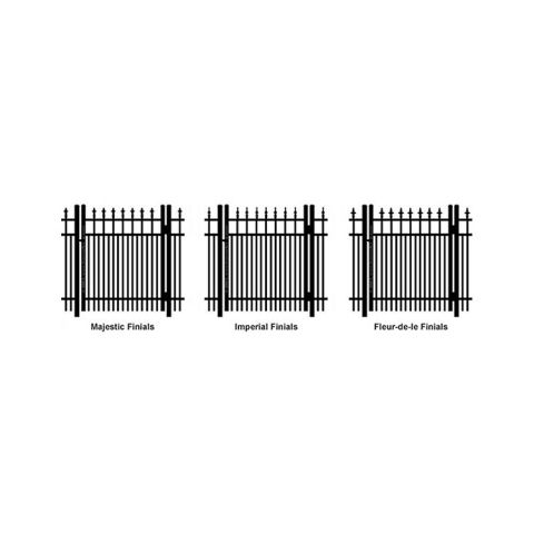 Ideal Finials #600 Aluminum Single Swing Gate - Double Picket
